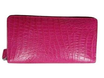 シャムクロコ(クロコダイル革)レディース・メンズ財布 ラウンドファスナー ピンクの画像