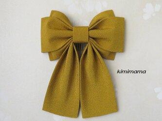 髪飾り 縮緬 Wリボンはいからさん(黄土)袴・着物・成人式・卒業式・七五三・和装小物       の画像