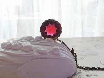 ヴィンテージ Star/RubyーGray(20ミリ)Ribbon ネックレスの画像