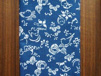 天然藍の型染め手拭い 花鳥瓢箪の画像
