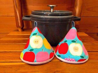 2個セット★三角鍋つかみ★staub にいかがでしょうか?★ストウブ 鍋つかみ ミトンの画像