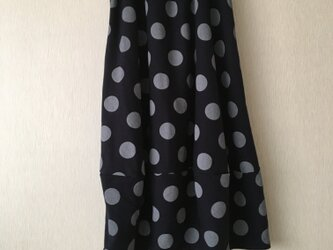 デカ水玉バルーンスカート 濃紺×グレーFの画像