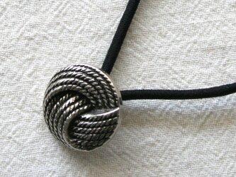 フランスアンティーク・銀メタル綱模様ボタン(AFB-102)の画像