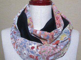 着物リメイク 上質なカシミヤ100%×花更紗模様の縮緬から作った上品なスヌードの画像