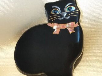 蒔絵ブローチ 黒猫の画像