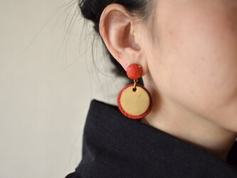 """Double Marble【レザーピアス】 color """"red""""の画像"""