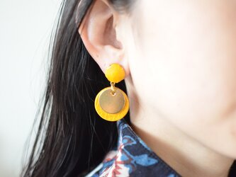 """Double Marble〜small〜【レザーピアス】 color """"yellow""""の画像"""