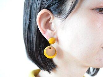 """【レザーピアス/イヤリング】  Double Marble〜small〜 """"yellow""""の画像"""