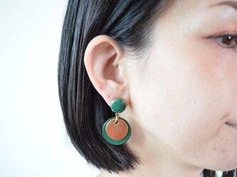 """【レザーピアス/イヤリング】 Double Marble〜small〜""""green""""の画像"""
