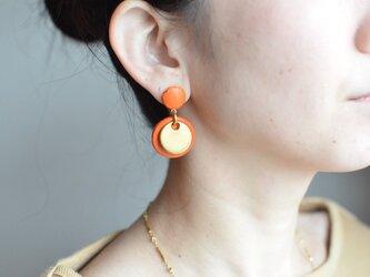 "Double Marble〜small〜【レザーピアス】 color ""orange""の画像"