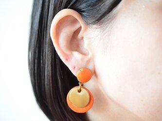 """【レザーピアス/イヤリング】 Double Marble〜small〜 """"orange""""の画像"""