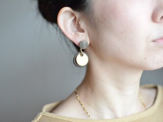 """Double Marble〜small〜【レザーピアス】 color """"gray""""の画像"""