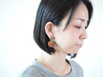 """【レザーピアス/イヤリング】 Double Marble〜small〜 """"gray""""の画像"""