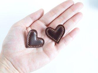 """【レザーピアス/イヤリング】 Heart  """"cordovan brown""""の画像"""