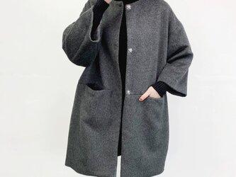 ★★en-enシャギー・コクーンコート・チャコールグレー(裏地付き)の画像