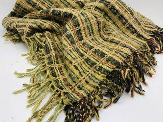 手織り 絣 ウール大判ショール 植物染織 e1の画像