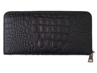 クロコダイル調牛革長財布 レディース・メンズ ラウンドファスナー ブラックの画像