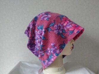 魅せる帽子☆ゆるゆるかなり大きめ!!2wayワッチキャップ~フラワーの画像