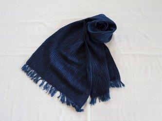 コットンウールストール 濃藍の画像
