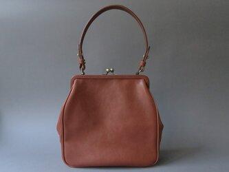plain gama hand bag -square (reddish brown)の画像