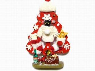にゃんこのしっぽ○可愛いニットのクリスマス・ツリー〇猫の画像