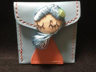 本革 栃木レザー 絹糸ドールぼたん コインケースの画像