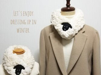 もこもこ羊のマフラー♡親子でおそろいセットの画像