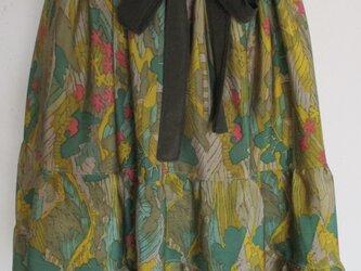 4588 花柄の着物で作った膝丈スカート #送料無料の画像