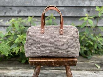 Boston bag  M size [Växbo Lin]茶色のひし形模様の画像