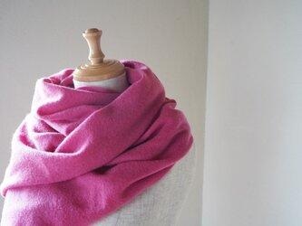 温度を纏う 純カシミヤのふわふわショールストール Pinkの画像
