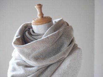 温度を纏う 純カシミヤのふわふわショールストール L/ Beigeの画像
