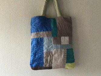 リネンの刺し子、小さめバッグの画像