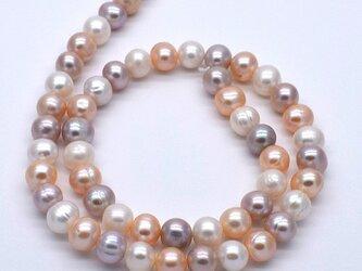 淡水パール 連 40cm ポテト マルチカラー ナチュラルカラー 8.5~9mm*6.5~7.5mm パーツ 材料 真珠の画像
