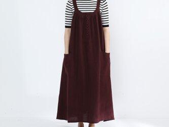 リネン100% キャザーたっぷり ゆったりジャンパースカート・ボルドーの画像
