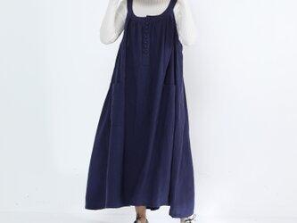 リネン100% キャザーたっぷり ゆったりジャンパースカート・紺色の画像