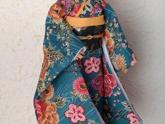 「青碧の水辺」バービー着物の画像