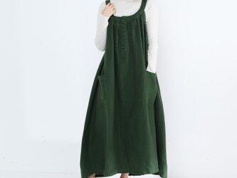 リネン100% キャザーたっぷり ゆったりジャンパースカート・グリーンの画像