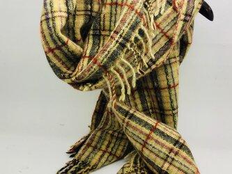 手織り 絣 ウール大判ショール 植物染織の画像