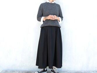 チノクロス2タックギャザースカート(ブラック)の画像