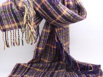 手織り 絣 アンゴラウール大判ショール 植物染織 の画像