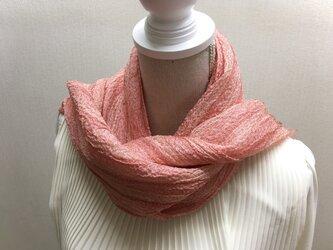 草木染め 手織りシルクストール茜 ST02の画像