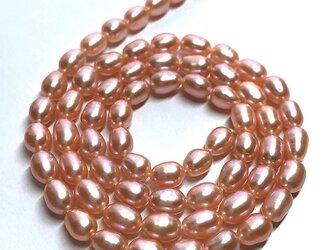 小粒 淡水パール 連 40cm 5~6.5mm*4~5mm ライス オレンジ系 真珠 素材 パーツ 材料 ネックレスの画像
