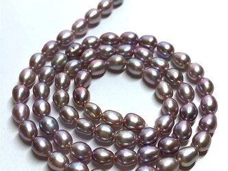 淡水パール 連 40cm ライス 5.5~6.5mm*4.5~5.0mm 真珠 素材 パーツ 材料 ネックレスの画像