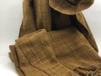 手織り アンゴラウール大判ショール クルミ染め やたら絣の画像