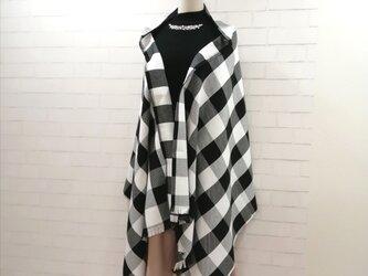 【再販】3wayマフラーショール*白黒ブロックチェック*播州織の画像