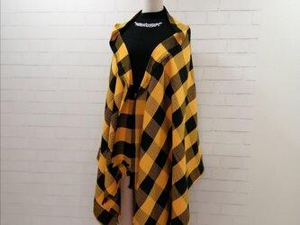 【新作】3wayマフラーショール*黄黒ブロックチェック*播州織の画像