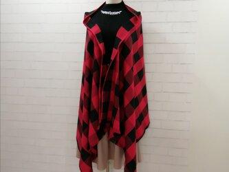 【新作】3wayマフラーショール*赤黒ブロックチェック*播州織の画像