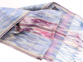手織り 絣 シルクストール の画像