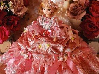 soldプリンセスの薔薇 リボンの花束 タッキング ドレープ ドールドレス ピンクベロアの画像