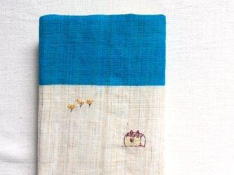 染色とししゅう 文庫本 ブックカバー  「冷たい朝」の画像